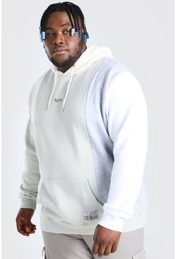 Ecru white Plus Size MAN Dash Colour Block Hoodie