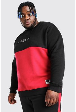 Black Plus Size MAN Script Colour Block Sweater