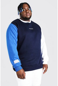 Navy Plus Size MAN Official Colour Block Sweater
