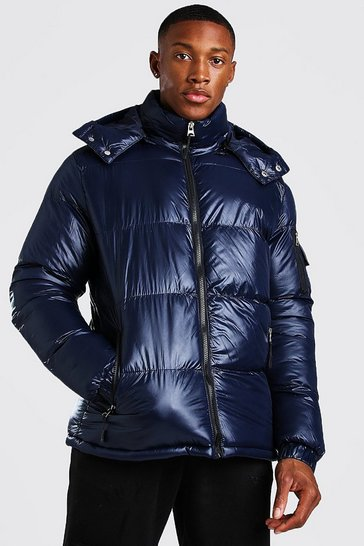 Navy High Shine Hooded Puffer Jacket