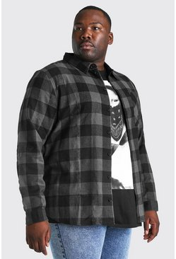 Charcoal grey Plus Size Long Sleeve Check Shirt