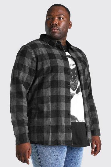 Charcoal grey Plus Size Long Sleeve Check Shirt