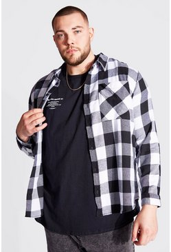 Black Plus Size Long Sleeve Flannel Shirt