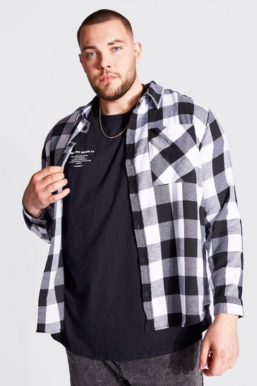 Black Plus Size Long Sleeve Check Shirt