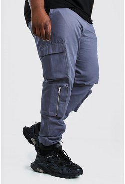 Slate grey Plus Size Geweven Cargo Joggingbroek Met Zakken