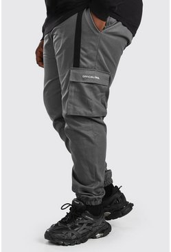 Slate grey Plus Size Woven 3D Cargo Jogger With Strap