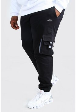 Plus Size MAN Woven Cargo Jogger With Tab, Black negro