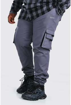 Slate grey Plus Size Man Geweven Cargo Joggingbroek Met Label