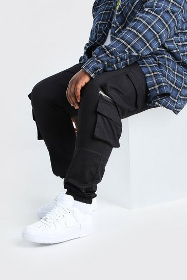 Black Plus Size MAN Cargo Jogger With Zips