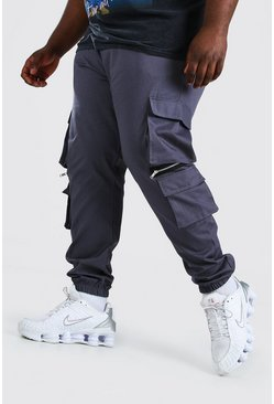 Slate grey Plus Size MAN Cargo Jogger With Zips