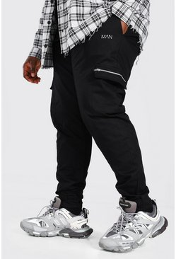 Black Man Plus Size Cargo Joggingbroek Met Aanpasbare Zoom