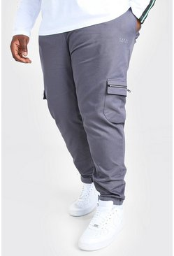 Plus Size Adjustable Cuff MAN Cargo Jogger, Slate gris