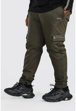 Khaki Plus Size Adjustable Cuff MAN Cargo Jogger