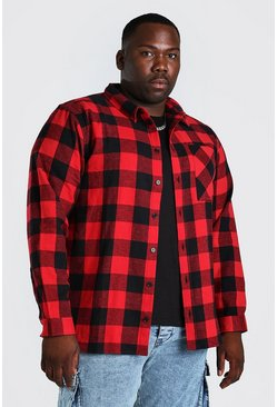 Plus Size Long Sleeve Check Shirt, Red rojo