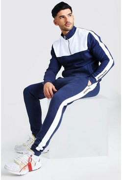 Navy Official MAN Colour Block Track Top And Jogger