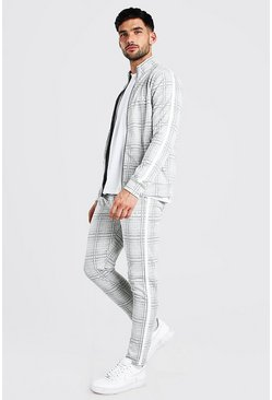 Lilac grey grey MAN Jacquard Tracksuit With Tape Detail