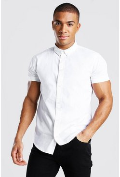 White Short Sleeve Cotton Poplin Shirt