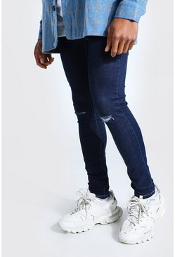 Indigo blue Super Skinny Jeans With Slash Knee
