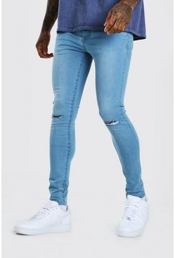 Light blue blue Super Skinny Jeans With Slash Knee