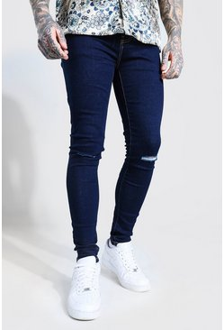 Skinny Jeans With Slash Knee, Indigo azul