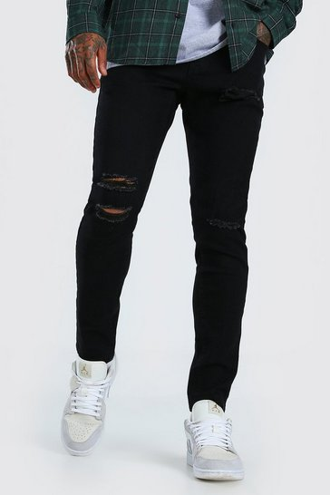 Black Skinny Jeans With Multi Rip