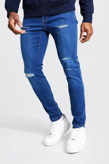 Mid blue blue Skinny Jeans With All Over Rips