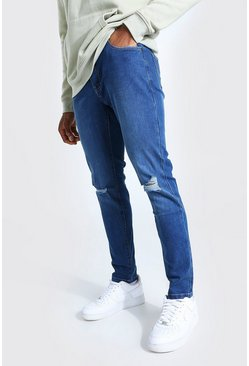 Mid blue blue Skinny Jeans With Ripped Knees