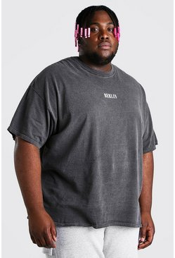 Charcoal Plus Size Berlin Print Overdyed T-Shirt