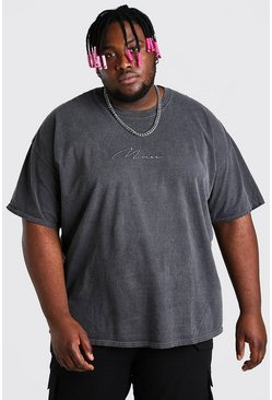 Charcoal grey Plus Size MAN Script Overdyed T-Shirt