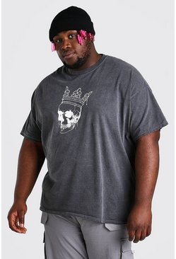 Charcoal grey Big And Tall Skull And Crown T-Shirt