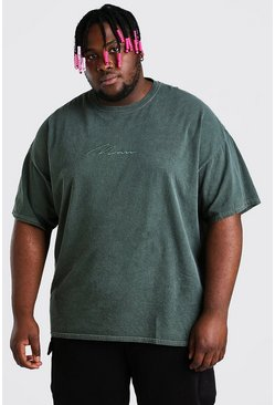 Khaki Plus Size MAN Script Overdyed T-Shirt