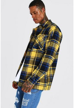Yellow Oversized Check Shirt