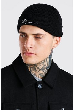 Black MAN Signature Embroidered Micro Beanie