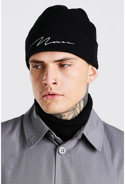 Black MAN Signature Embroidered Beanie