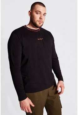 Plus Size MAN Sports Rib Long Sleeve T-Shirt, Black negro