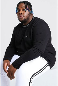 Black Plus Size MAN Sports Rib Long Sleeve T-Shirt