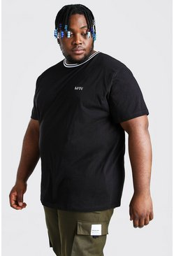 Plus Size MAN Dash Sports Rib T-Shirt, Black negro