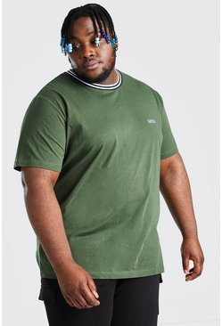 Plus Size MAN Dash Sports Rib T-Shirt, Khaki caqui