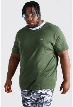 Khaki Plus Size MAN Script Sports Rib T-Shirt