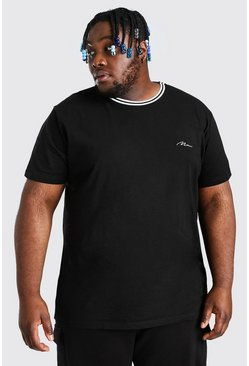 Black Plus Size MAN Script Sports Rib T-Shirt