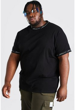 Plus Size MAN Rib And Sleeve Detail T-Shirt, Black negro
