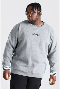 Plus Size MAN Dash Sports Rib Sweater, Grey gris