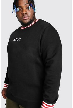 Black Plus Size MAN Dash Sports Rib Sweater