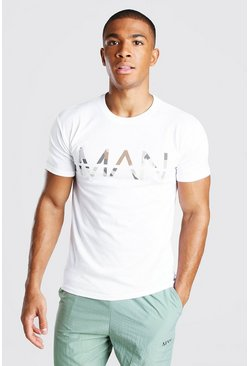 White Original MAN Camo Print T-Shirt