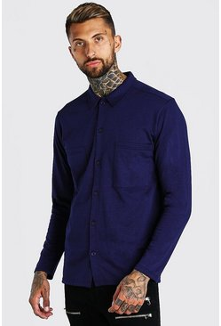 Navy Long Sleeve Jersey Utility Shirt