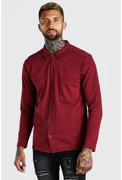Burgundy red Long Sleeve Jersey Utility Shirt
