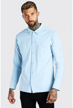 Light blue Long Sleeve Jersey Utility Shirt