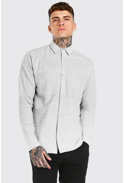 Grey marl Long Sleeve Jersey Utility Shirt
