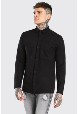 Black Long Sleeve Jersey Utility Shirt