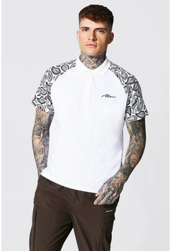 White Man Signature Raglan Print Polo